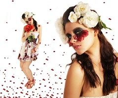 Thumbelina (EgleStoskute) Tags: pink flowers red roses white beauty make up fashion hair studio petals crazy dress purple natural background silk style heels brunette hairstyle beatrice gramauskaite