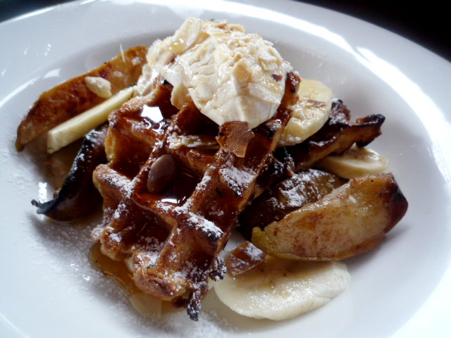 Belgian waffles with banana, cinnamon roasted pears, spiced labna and orange blossom maple syrup