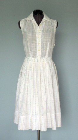 1960s Cool White Cotton Summer Dress