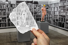 Pencil Vs Camera - 13 (Ben Heine) Tags: show new woman man art love apple look museum naked nude sketch 3d couple poem belgium skin nikond70 nu contemporaryart library duo femme fair exhibition romance dessin special popart amour installation imagination series taste conceptual genesis temptation 13 2d sculptures opticalillusion foire peau homme pomme settings regard adamandeve got dcor faithfulness christianism artevent heysel number13 theartistery tentation artbrussels petersquinn fidlit benheine blossow drawingvsphotography traditionalvsdigital flickrunitedaward pencilvscamera bookcasewallpaper lagense realitywoman