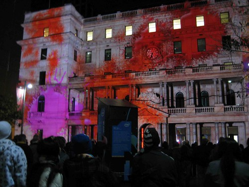 Intel 3-D projections on Customs house