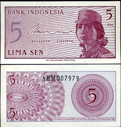 5 Sen Indonézia 1964, Pick 91