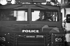 Police in Armored Vehicle, Oakland Riots (Thomas Hawk) Tags: california blackandwhite bw usa america oakland blackwhite riot tank unitedstates unitedstatesofamerica protest bart police vehicle eastbay riots downtownoakland oaklandpd oaklandpolice bartpolice oscargrant oaklandriot oaklandriot2009 oaklandriots2009 oscargrantriots oaklandriots