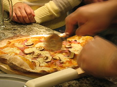 pizza wheel (k.m. Hahn) Tags: mushrooms oven sauce pizza homemade thincrust mozzerella pizzastone pizzawheel canadianham