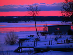 Along the Shore (Billy Wilson Photography) Tags: winter sunset sun snow ontario canada cold color colour ice nature water beautiful beauty canon river landscape colorful great january sunsets colourful 1001nights saultstemarie canonpowershot northernontario algoma abigfave saintmarysriver canonpowershotsx110is thebillster23