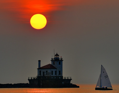 Sunset Over Oswego Lighthouse - Oswego, NY