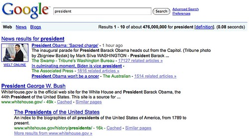 Google, President Search