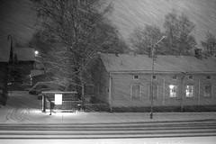 (jaosvi) Tags: road winter light bw white house snow storm black bus finland walking turku snowstorm busstop stop blizzard