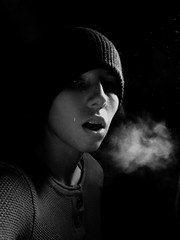 Redo- See Day 9 of 365 (Kelley, Lyndsey A.) Tags: light portrait bw woman white selfportrait black girl hat lady female self dark sweater smoke breath dust breathe