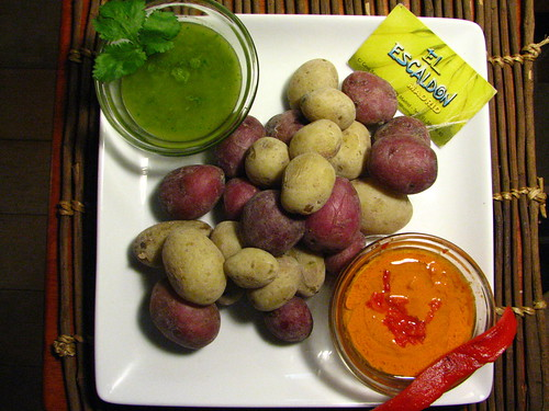Papas Arrugandas with Mojo Rojo and Mojo Picon