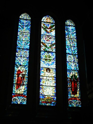 Stained glass in the Christchurch cathedral, New Zealand