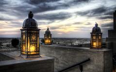 Dusk (momentaryawe.com) Tags: light sunset clouds dubai desert dusk uae emirates lamps hdr babalshamshotel