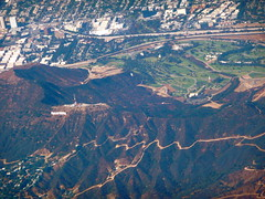 Hollywood sign from the air (Scorpions and Centaurs) Tags: california above city travel terrain usa airplane landscape flying losangeles state flight dry aerial hills hollywood arid pacificcoast