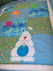 YALI'S CRIBSAT (Dvorale's) Tags: baby bunny design handmade turquoise sewing textile fabric cotton bumper blanket patchwork applique cribset dvorale diapersbag dvoralesdesign