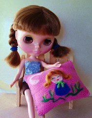 Blythe and her new pillow