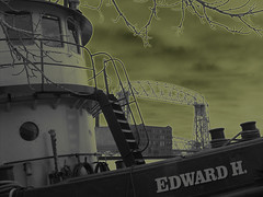Edward H. Tugboat (its me...jeff!) Tags: texture photoshop eerie haunted spooky tugboat lakesuperior treebranch thetempest aerialliftbridge overcastsky