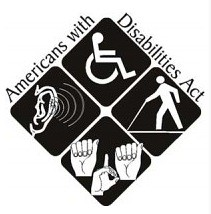 Square logo with international wheelchair symbol, person with cane, sign language hands, and ear with sound waves