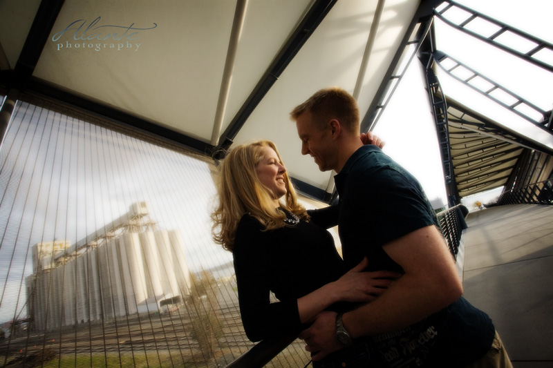 Seattle Engagement photos at the helix bridge