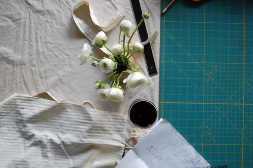 ranunculus + wine + sewing