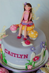 Fairy Cake (TheLittleCupcakery) Tags: birthday pink mushroom yellow cake cupcakes purple little violet butterflies snail fairy caitlyn tlc fondant cupcakery xirj klairescupcakes
