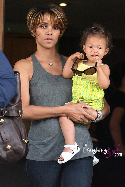 Halle Berry and Daughter Nahla Aubry in a Yellow Dress at Lunch in Los Angeles by Candy_Kirby