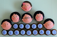 May Birthday Cupcakes (TheLittleCupcakery) Tags: birthday cake faces little tlc fondant cupcakery xirj klairescupcakes