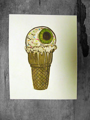 Lunch - Ice Cream (Iain Burke) Tags: food ice set illustration pen lunch design spring eyes yum drawing cream brush class creation icecream imagination series iain parsons 2009 eyeballs newschool inkwash watchwhatyoueat shockvalue omnomnom iainburke octopocalypse iainvandoucheberg vandoucheberg