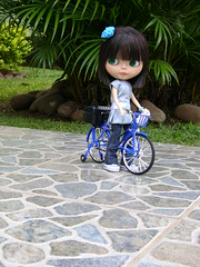 W.A.W. Something Blue and Borrowed :D (Mari Assmann) Tags: portrait bike toy doll megan plastic blythe   boneca custom takara allstar ebony jouet waw plstico poupe rbl primadollyebony pd2e sabrinaeras sonydscs730 wearitagainwednesday