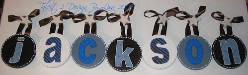 "JACKSON 5"" Round Custom Hand Painted Letters with Star Shaped Push Pin Accents"