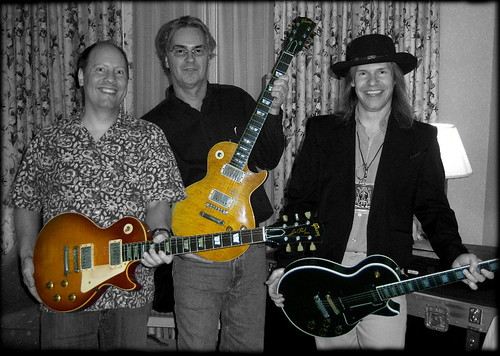 Edwin Wilson of Gibson Guitars, Pat Foley of Gibson Guitars, & Eric Ernest (vintage guitar broker) with some vintage Gibson vibe. 1958 Les Paul Standard guitar, 1959 Les Paul Standard guitar, and 1955