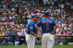 Matt Sinatro and Kosuke Fukudome talk it over (mikepix) Tags: chicago baseball cleveland indians cubs wrigleyfield 2009 bullpinbox