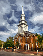 Unitarian Portsmouth (Rusty Russ) Tags: unitarian universalist church portsmouth nh new hampshire steeple sky cloud street photoshop wind religion high flickr yahoo google universe spiritual service rose flying posterized painting filter uu graphicmaster imageediting pictureimages freeimages stockimages aboutinteresting creative creativedigital creativepictures manipulated wizards imagesphotos picturresof funnypictures colorimages colorfulimages graphicsimages hotimages coolimages stumbleupon interesting image photo freeimage picasa newsroom color surreal avant guarde