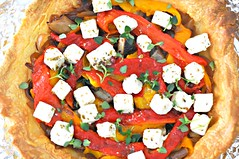 "Roasted Veggie ""Free Style"" Tart with Feta and Ricotta, Before the Cream and the Oven"