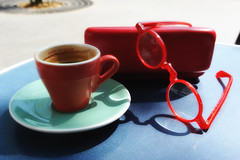 Cafs Richard and the dirty eyeglasses (jmvnoos in Paris) Tags: shadow red paris france cup tasse caf bar rouge cafe nikon bars shadows ombre cups eyeglasses lunettes cafes cafs ombres tasses d700 jmvnoos