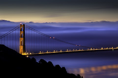 Cold Blue (maxxsmart) Tags: california longexposure blue trees winter color water electric fog sunrise reflections bay shadows goldengatebridge bayarea marincounty lighttrails marinheadlands 2010 northtower offtheair crazybeautiful ef70200f4lusm canon5dmarkii maxxsmart ialmostcalledthisoneelectricblanket