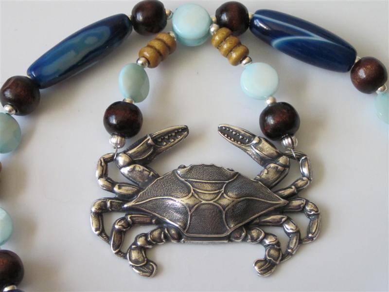 Antiqued Silver Blue Crab Gemstone Pendant Necklace