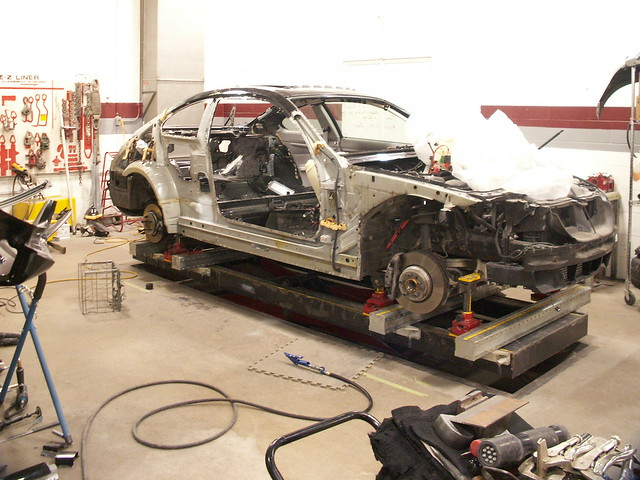 auto car bench body repair bmw wreck 2009 wrecked collision autobody 335 e92 carbench bemmer