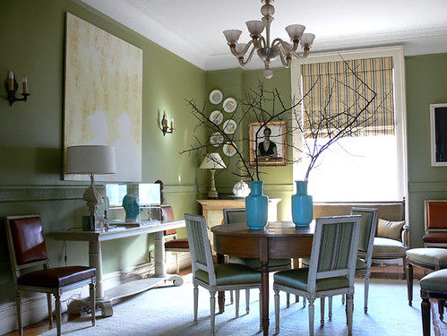 'Curlish Green' by Farrow & Ball: Dining room by Shelia Bridges