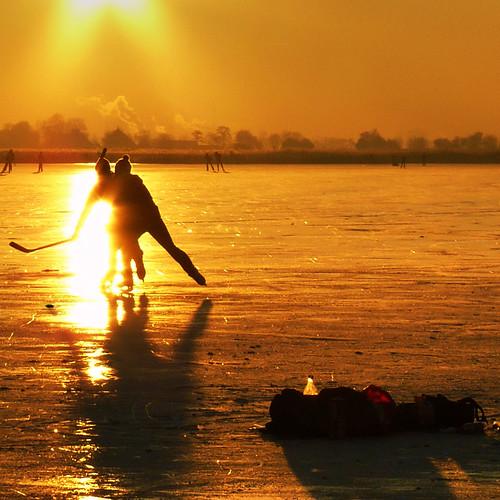 Enjoying their first game of Ice Hockey