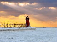Bullseye! (South Haven) (PhotoDocGVSU) Tags: winter sunset lighthouse ice frozen michigan lakemichigan southhavenmi aplusphoto theunforgettablepictures