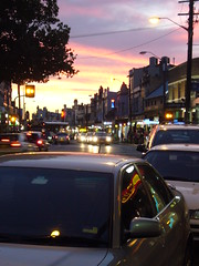 king street (AS500) Tags: street sunset west reflection lights king traffic sydney inner nsw newtown