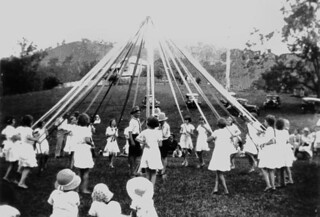 Children doing maypole dancing in the Canungra...