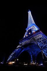 Blue Eiffel Tower (Alexx') Tags: paris nikon europe bue eiffeltower bleu toureiffel dxo nightscene champsdemars 1224 sarkosy d80 distinguishedlongexposure paristravelr