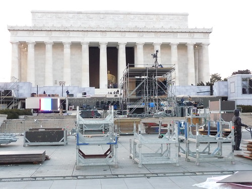 Lincoln Memorial stage set-up by you.