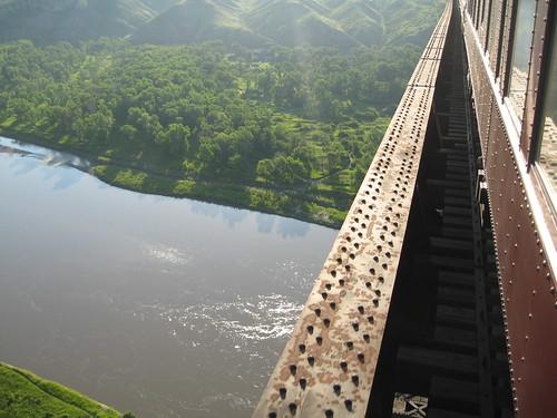 Train Chartering - view as Royal Canadian Pacific crosses a trestle bridge in Alberta