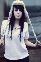 (ursularoxy) Tags: red portrait white black girl hat pull pretty buttons piercing reflect icey ursularoxy