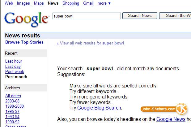 Super Bowl Google News Servers