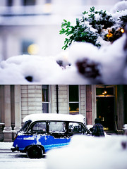Glitter in the Air (FUNKYAH) Tags: snow london taxi snowing