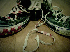 Converse. (Angelica Nicole.) Tags: old wow shoes heart converse torn chucks shoelaces messedup oldshoes oldconverse oldchucks shoelaceheart