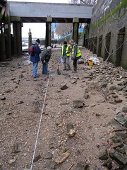 Rose, Andy, Gus and Ashley at the boat (Thames Discovery Programme) Tags: london archaeology public standing riverside timber vessel structure frog riverthames feature cityoflondon tdp customhouse thamesdiscoveryprogramme thamesforeshorearchaeology fcy04